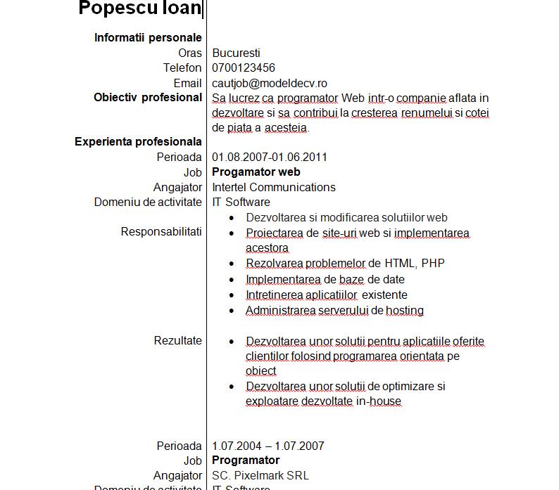 model cv programator